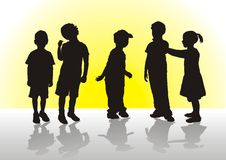 Children. Five children in a confidential interview Royalty Free Stock Photo