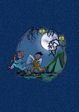 Children. A fun nocturnal scene of children on holiday. Digital illustration Stock Images