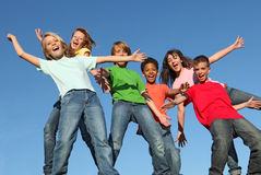 Children. Group of  diverse kids, children, youth arms outstretched