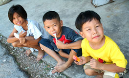 Children. Thee asian children hanging out Stock Image