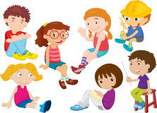 Children. An illustration of boy and girls doing different things Royalty Free Stock Image