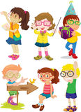Children. An illustration of boy and girls doing different things Stock Photo