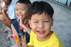 Children. Three asian children hanging out Stock Images