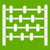 Children abacus icon green. Children abacus icon white isolated on green background. Vector illustration Royalty Free Stock Photography