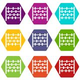 Children abacus icon set color hexahedron. Children abacus icon set many color hexahedron isolated on white vector illustration Stock Image
