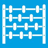 Children abacus icon white. Isolated on blue background vector illustration Stock Image