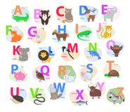 Children ABC with Cute Animals Cartoon Flat Vector. Children ABC with cute animals cartoon vector. English letters A to Z set with funny animals isolated flat Stock Image