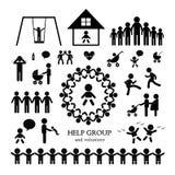 Children action welfare icon. Children action welfare stick figure icon Stock Photos