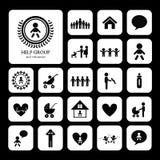 Children action welfare icon. Children action welfare stick figure icon Royalty Free Stock Photos