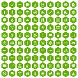 100 children activities icons hexagon green Royalty Free Stock Images