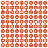 100 children activities icons hexagon orange Royalty Free Stock Photo