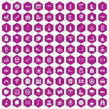 100 children activities icons hexagon violet. 100 children activities icons set in violet hexagon isolated vector illustration Royalty Free Stock Image