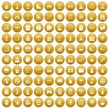 100 children activities icons set gold. 100 children activities icons set in gold circle isolated on white vectr illustration Stock Images