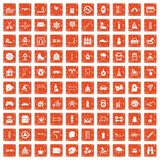 100 children activities icons set grunge orange. 100 children activities icons set in grunge style orange color isolated on white background vector illustration Stock Photography