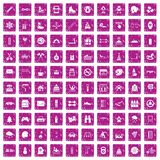 100 children activities icons set grunge pink. 100 children activities icons set in grunge style pink color isolated on white background vector illustration Stock Images