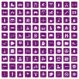 100 children activities icons set grunge purple. 100 children activities icons set in grunge style purple color isolated on white background vector illustration Stock Photography