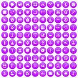 100 children activities icons set purple. 100 children activities icons set in purple circle isolated vector illustration vector illustration