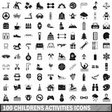 100 children activities icons set, simple style Stock Photo