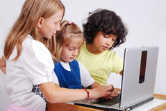 Children activities on laptop put on desk isolate Royalty Free Stock Image