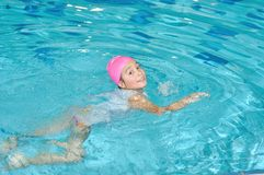 Children activities on  nice swimming pool Royalty Free Stock Image