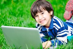 Children activity with laptop Royalty Free Stock Photos