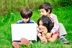 Children activity with laptop Stock Photo