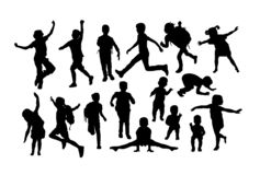 Children Activity Silhouettes stock images