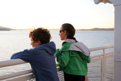 Children admiring view from ferry Royalty Free Stock Photo