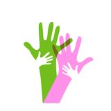 Children and adults hands. Representing family Stock Images