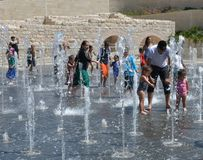 Dancing fountain in Teddy Park, Jerusalem, Israel royalty free stock photo