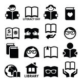 Children and adults reading books, International Literacy Day icons. Vector icons set of books, people reading, library  on white Stock Photos