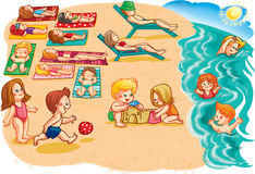Children and adults seaside having sunbathe Royalty Free Stock Images