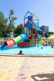 Children and adults swimming in the pool at the water Park in the summer Stock Photos