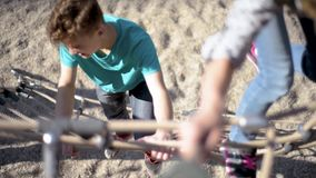 Children in adventure park stock footage