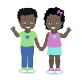 Children African, American. Boy and girl holding hands and smiling. Vector illustration Royalty Free Stock Photography