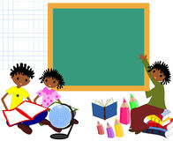 Children of African descent with books in the school board,. Comeback to school stock illustration
