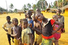 Children in african village in the jungle. Congo Stock Images