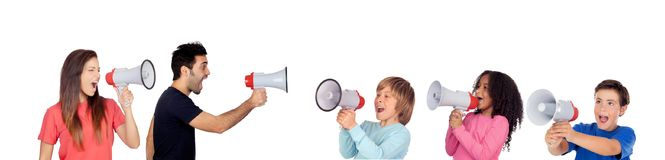 Children against adults screaming with megaphones. Isolated on a white background Royalty Free Stock Image