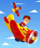 Children on a airplane race Royalty Free Stock Images