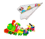 Children with airplane and train. Diploma for children with magicians, fairies and squirrels Royalty Free Stock Photos