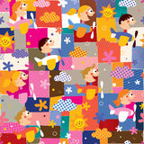 Children in airplanes collage pattern Stock Images