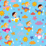 Children in airplanes pattern Royalty Free Stock Photos