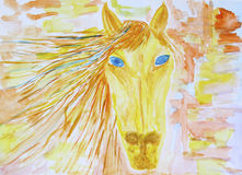 Children akwareli rysuje koń Zdjęcia Royalty Free