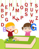 Children with alphabet. Royalty Free Stock Photo