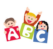 Children with alphabet blocks. Happy children playing with blocks and learning the alphabet royalty free illustration