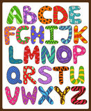Children Alphabet With Cartoon Capital Letters. Stock Photos
