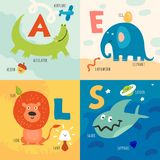 Children Alphabet Concept. Children learning alphabet 4 icons concept with alligator elephant lion sharks first letter pictures isolated vector illustration Stock Photo