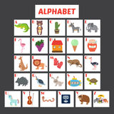 Children alphabet with cute cartoon animals and other funny elem Stock Photos