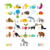 Children alphabet with cute cartoon animals and other funny elem. Ents. Learn to read. ABC. Vector illustration Stock Illustration