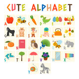 Children alphabet with cute cartoon animals and other funny elem Royalty Free Stock Photos